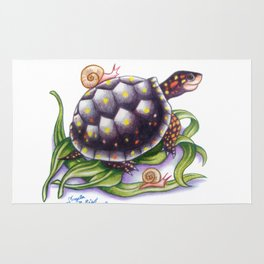 Spotted Turtle With Snails Rug