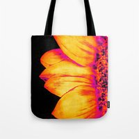 sunflower Tote Bags featuring Sunflower Pink Yellow by PureVintageLove