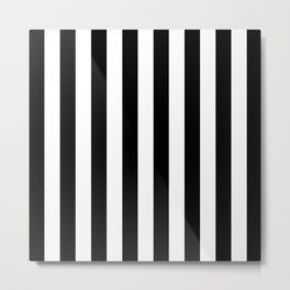 Abstract Black and White Vertical Stripe Lines 8 Metal Print