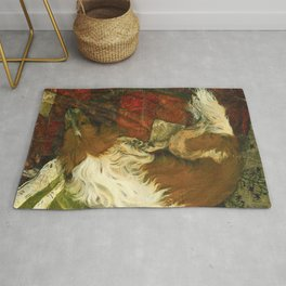 Border Collie Dog Sleeping Impressionist Colourful Oil Painting Red Green and Orange Rug