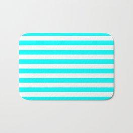 Horizontal Stripes (Aqua Cyan/White) Bath Mat