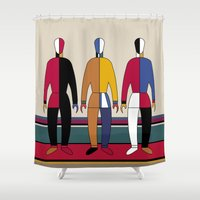 men Shower Curtains featuring Suprematism Men by THE USUAL DESIGNERS