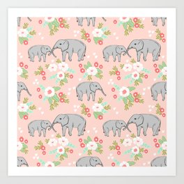 Elephants pattern blush pink pastel with florals cute nursery baby animals lucky gifts Art Print