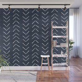Mud Cloth Big Arrows in Navy Wall Mural