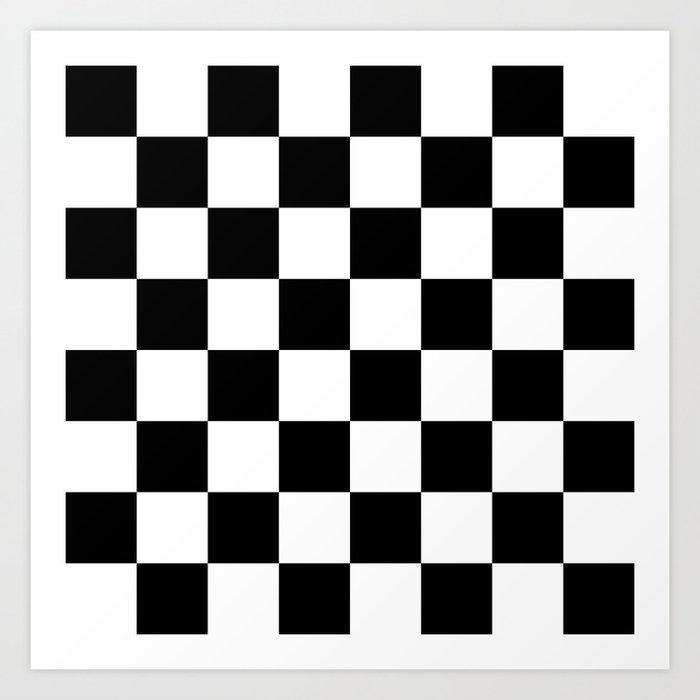 Contemporary Black & White Gingham Pattern Kunstdrucke