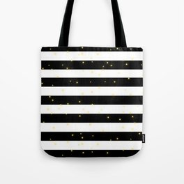 Black and White Stripes with Golden Dots Tote Bag