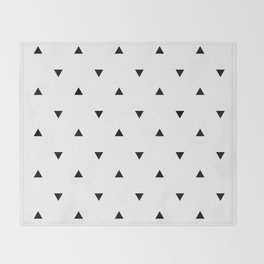 Black and white Triangles geometric pattern Throw Blanket
