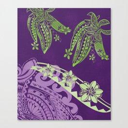 Hawaiian - Samoan - Polynesian Tribal Tapa Floral Decor Canvas Print