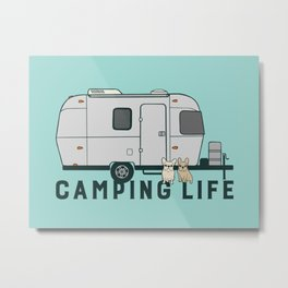 Happy camping life with cute Frenchies Metal Print