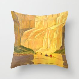 Kayaking The Colorado River In The Grand Canyon Throw Pillow