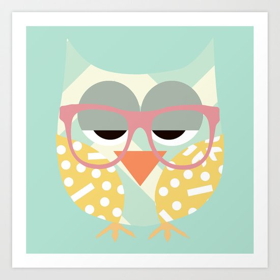 Geometric Nerd Owl Art Print