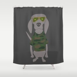 Camo Weim Hunting Grey Ghost Weimaraner Dog Hand-painted Pet Drawing Shower Curtain