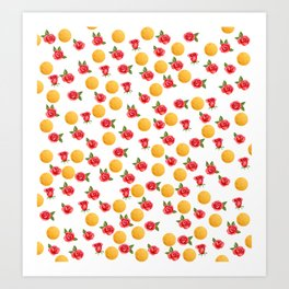 Grace - Watercolor Red Roses and Golden Polka Dots Pattern Art Print