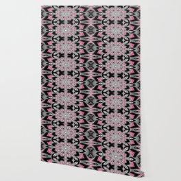 Black White Pink Flower Panel Art Wallpaper
