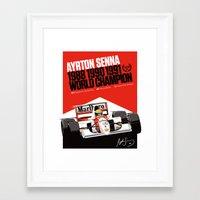 senna Framed Art Prints featuring Ayrton Senna x McLaren by Sean Kane Design