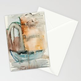 Boat in Nessebar Bay Aquarelle Stationery Cards