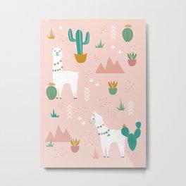 Llamas + Cacti on Pink Metal Print