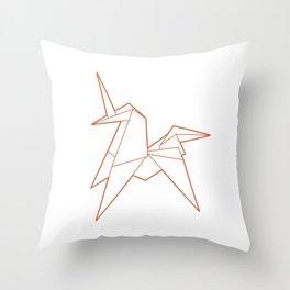 Origami Unicorn Throw Pillow