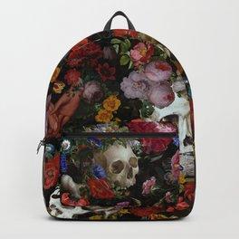 Vintage & Shabby Chic - Gothic Night Skulls Flower Botanical Midnight Garden Backpack