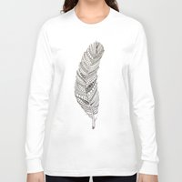 feather Long Sleeve T-shirts featuring Feather by Lauren Miller