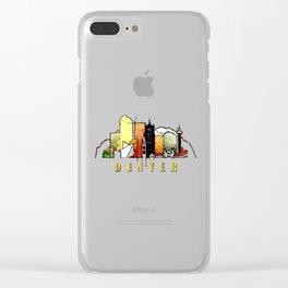Colorful Denver Colorado Skyline Clear iPhone Case