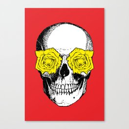 Skull and Roses | Red and Yellow Canvas Print