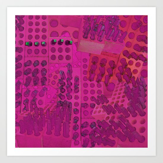 I Love You Letter Punches Abstract Pink Art Print