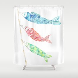 Watercolor Japan Carp Streamers / Koinobori Shower Curtain
