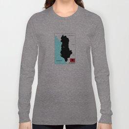 political map of Albania country with flag Long Sleeve T-shirt