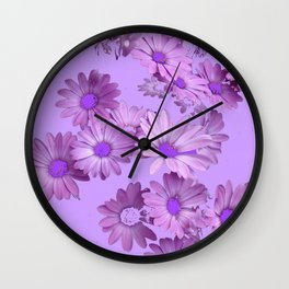Pinkish Lilac Color Purple Daisy Flowers Garden Wall Clock