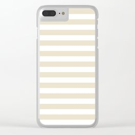 Narrow Horizontal Stripes - White and Pearl Brown Clear iPhone Case
