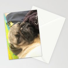 Cute Pug Sleeping - hard day at the beach Stationery Cards