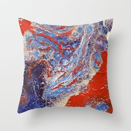 red and blue flow Throw Pillow