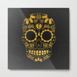 Golden Skull Metal Print