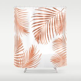 Rose Gold Palm Leaves Shower Curtain