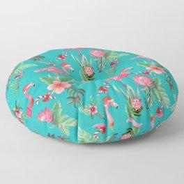 Santa Flamingo Christmas, Holiday Tropical Watercolor Floor Pillow