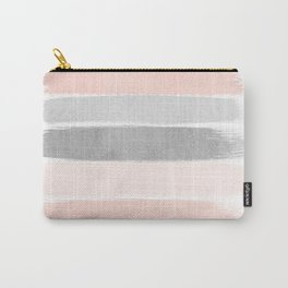 Grey and millennial pink stripes painted minimalist brushstrokes canvas art Carry-All Pouch