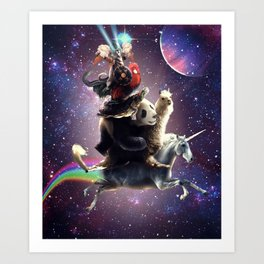 Cat Riding Chicken Turtle Panda Llama Unicorn Art Print