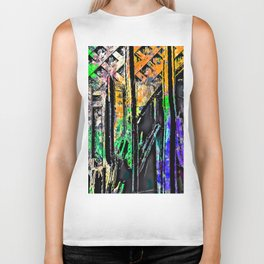 cactus with wooden background and painting abstract in green orange blue purple Biker Tank