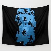 ninja Wall Tapestries featuring Ninja Kick Ass Clash by Anna-Maria Jung