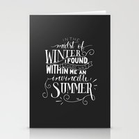 camus Stationery Cards featuring Albert Camus - In the Midst of Winter by Amber Serene