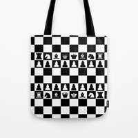 chess Tote Bags featuring chess by Vickn