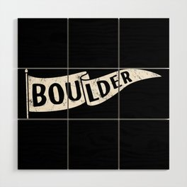 Boulder Colorado Pennant Flag B&W // University College Dorm Room Graphic Design Decor Black & White Wood Wall Art