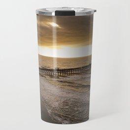 Folly Beach Pier in Gold Travel Mug