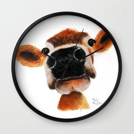 Nosey Cow ' JERSEY JOY ' by Shirley MacArthur Wall Clock