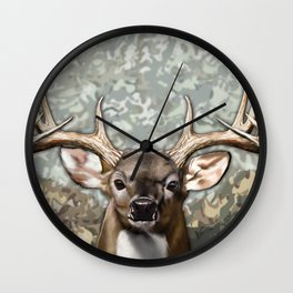 Whitetail Buck and Camo Wall Clock