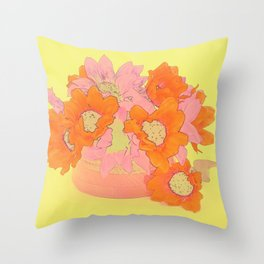 Orange and Pink Flowers Throw Pillow