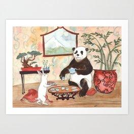 Tea with Panda Art Print