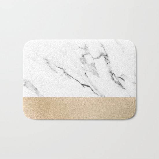 White Marble with Black and Copper Bronze Bath Mat