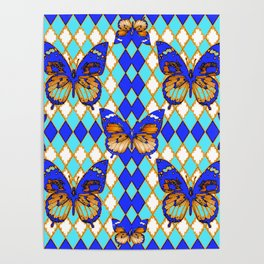 ARGYLE ABSTRACTED  BROWN SPICE  MONARCHS BUTTERFLY & BLUE-WHITE Poster